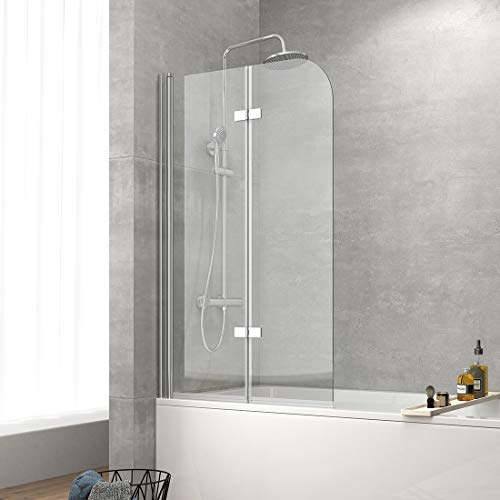 Safeni 110x140cm Duschwand für Badewanne Faltbar Badewannenaufsatz Duschabtrennung mit 6mm Nanobeschichtung ESG Klares Sicherheitsglas, Schwenkbar 180º