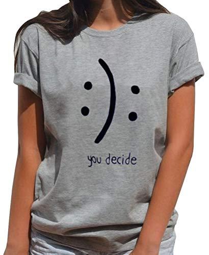 BLACKMYTH Women's T-Shirts Cotton Funny Grahpic Design Casual Short Sleeve Top Tees Grey Medium
