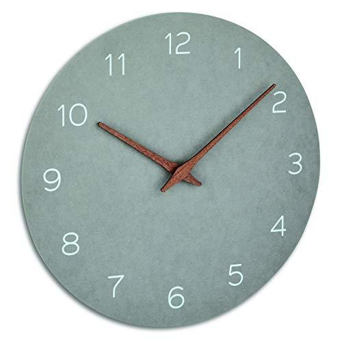 TFA Dostmann 60.3054.10 - Reloj de Pared analógico con manecillas de Madera, Movimiento silencioso, Mecanismo de Calidad, Color Gris hormigón, 297 x 45 x 297 mm