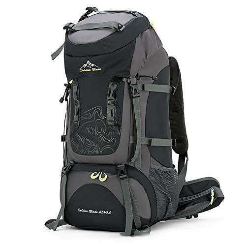 ZTLY Hiking Backpack 50L, Waterproof Hiking Rucksack with Rain Cover, Outdoor Sport Trekking Skiing Mountaineering Climbing Camping Backpack with Hydration System,Black