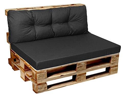 Garden Factory Palettenkissen Palettenauflagen Sitzkissen, Rückenlehne, Set, Gesteppt + Flach (Set (Sitzkissen 120x60+Rückenlehne 120x40), Anthrazit)