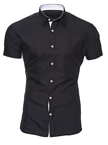 Kayhan Hombre Camisa Manga Corta, Florida Black L
