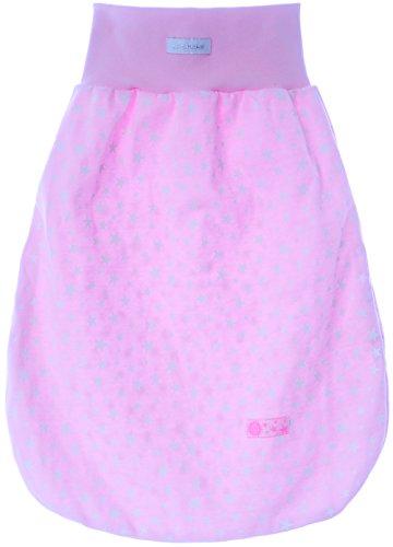 Pucksack baby slaapzak babyslaapzak zonder mouwen roze met sterren 0/6M. (43cm.)