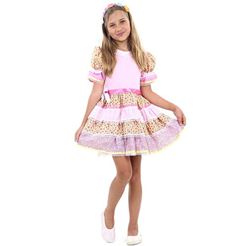 Fantasia de Festa Junina Infantil Caipira Chic Rosa Vestido e Tiara M 5-8