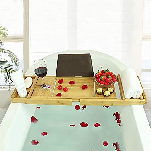 Bandeja Bañera Bath Caddy Bandeja para bañera, mesa de baño, Se adapta a todos los accesorios de baño Copa de vino, Libros, tabletas, teléfonos celulares, champú, estante de baño plegable Estante para