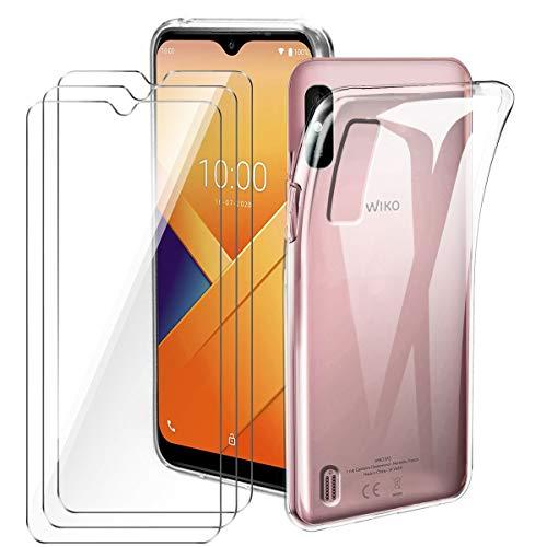 Brands LJSM Hülle für Wiko Y81 + [3 Stück] Panzerglas Bildschirmschutzfolie - Transparent Weich Silikon Schutzhülle Flexibel TPU Tasche Hülle für Wiko Y81 (6.2
