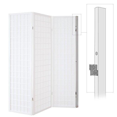 Homestyle4u 1106, Wandhalterung Raumteiler, Wandhalter Wandbefestigung Paravent, Weiß Weiss