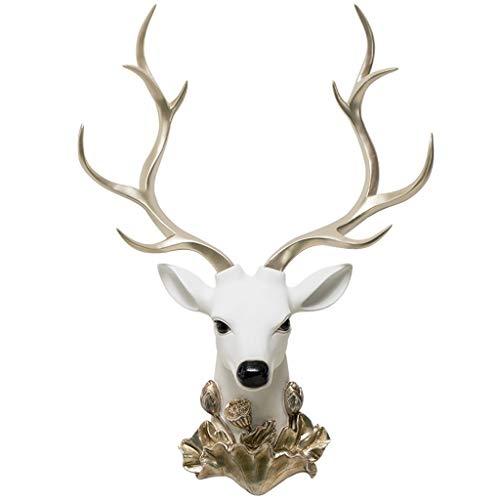 Creativo Blanco Cuerno de oro resina Escultura Animal Deer Cabeza Escultura Hogar Jardín Decoración Montado en la pared Adorno de cabeza de alces, adecuado para regalos a la persona Decoración hogareñ