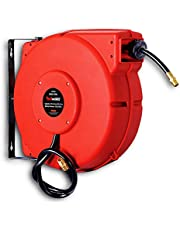"""REELWORKS Air-Water-Hose-Reel Retractable 3/8"""" Inch x 50' Feet Premium Commercial Flex Hybrid Polymer Hose Max 300 PSI Heavy Duty Polypropylene Case Construction Industrial Spring Driven"""