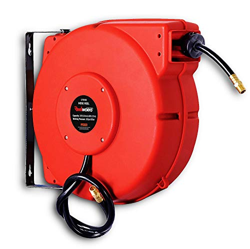 "REELWORKS Air-Water-Hose-Reel Retractable 3/8"" Inch x 50' Feet Premium Commercial Flex Hybrid Polymer Hose Max 300 PSI Heavy Duty Polypropylene Case Construction Industrial Spring Driven"