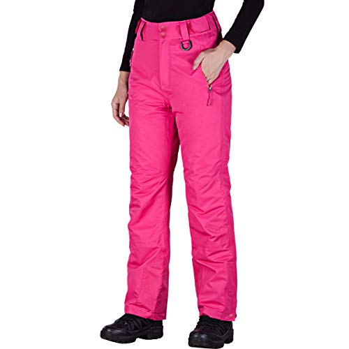 FREE SOLDIER Women's Outdoor Snow Ski Insulated Pants Windproof Waterproof Breathable Pants for Snowboarding (Rose Red M/32L)