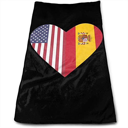 wteqofy Half Spain Flag Half USA Flag Heart Bath Hand Towels Dish Cloth Machine Washable Kitchen Towels Tea Towels for Drying Cleaning Cooking Baking