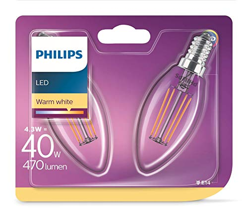 Philips LEDclassic Lampe ersetzt 40W, E14, warmweiß (2700 Kelvin), 470 Lumen, Kerze, Doppelpack