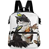Oarencol - Mochila escolar con diseño de gato, color blanco y negro