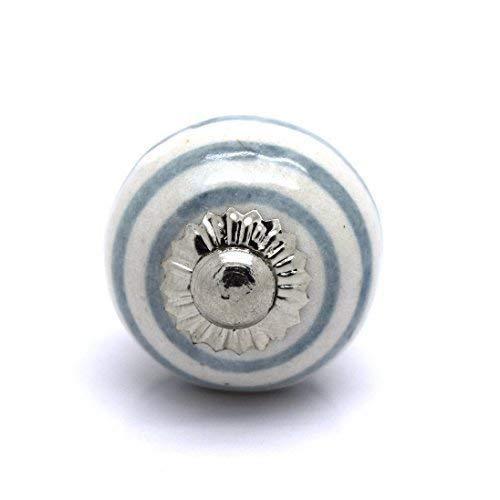 Kleine kast, deurknop van keramiek (PS41 – wit met grijze strepen)