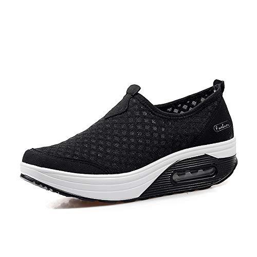 Sandalias para Mujer Malla Zapatos para Caminar Zapatillas De Deporte Talla 35-42 Respirado Ligero Deporte Running Zapatillas Sacudir Casual Zapatos de Deporte Mocasines Negros Verano,Negro Talla 38