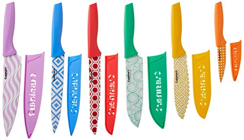 Cuisinart C55-12PR2 Advantage Color Collection 12-Piece Printed Color Cutlery Set, Multicolor