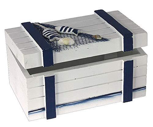 decopartners.eu Maritime Deko Holzkiste blau-weiß 20 cm mit Muscheldekor Badezimmer Dekoration