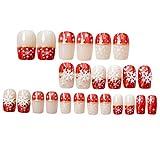 Minkissy Unghie finte 24 pezzi con fiocchi di neve bianchi design unghie finte acriliche moda natale per ragazze donne