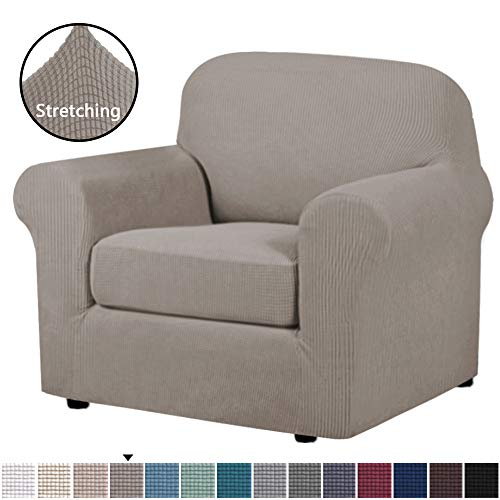 H.VERSAILTEX Stretch Chair Slipcovers 2 Pieces Armchair Cover Furniture Protector Chair Covers for Living Room Fit Chair Width Up to 48 Inches, Jacquard Lycra High Spandex Fabric(Chair, Taupe)