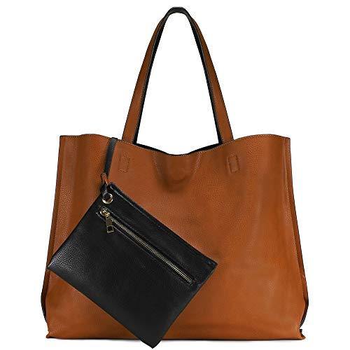 Scarleton Bolso de mano reversible para mujer, monederos para mujer, bolso cruzado para mujer, bolso de hombro para mujer, H1842, camel/negro, 15.5' x 13' x 5.5'