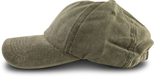fashionchimp ® Baseballcap im Vintage Used-Look aus 100% Baumwolle, Unisex Jeans Denim Cap (Olivgrün)