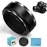 Fotover Parasol estándar de metal de 55 mm con tapa central para objetivo Canon Nikon, Sony, Pentax, Olympus, Fuji Sumsung Leica + paño de limpieza