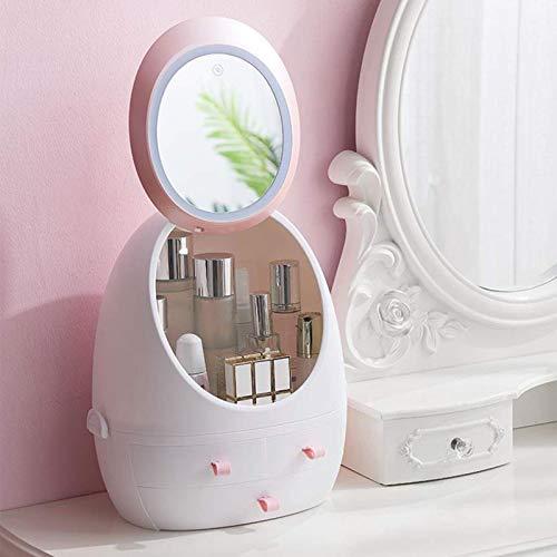 BFDMY Makeup Stand Organizer, Moderne Schmuck- und Kosmetik-Aufbewahrungsboxen mit LED-Spiegel, für Badezimmer, Kommode, Schminktisch und Hautpflegeprodukte, Pink
