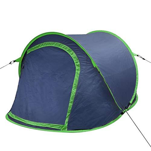 Lechnical Tente de Camping escamotable pour 2 Personnes, Tente de Plage de Camping légère avec Protection UV, Montage Facile et Rapide, Sac de Transport Compact, 215x125x90cm, Navy Blue/Green