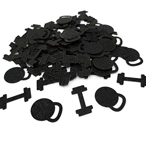 Black Fitness Confetti Dumbbell Party Decor Gym Theme Party Confetti Weightlifting Confetti Athlete Confetti Set of 150