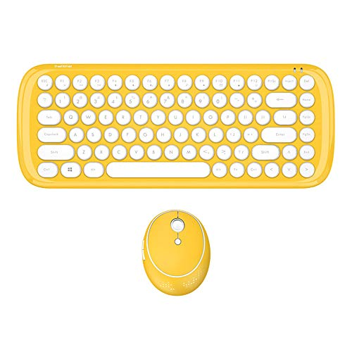 NCBH 2.4G Mini draadloos toetsenbord en muis Combo Retro Schoolgirl Office Punk Keycap Keypad voor Home PC Gamers & Office Typists Gebruik