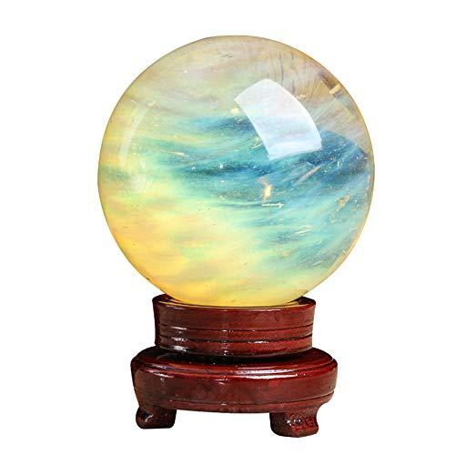 eLy Joyas de Bolas de Cristal Fundido, Joyas de Bolas de Cristal Natural, Materias primas, Adecuado para meditación, Feng Shui, Adivinación de la Mirada, Amarillo Claro