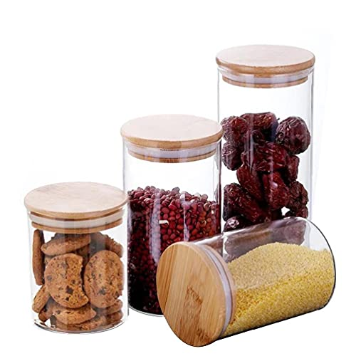 Food Storage Jars & Canisters, Glass Cylinder Airtight Kitchen Container Canister Jar with Bamboo Lid & Silicone Sealing Ring (Set of 4) Kitchen Supplies Kitchen Supplies