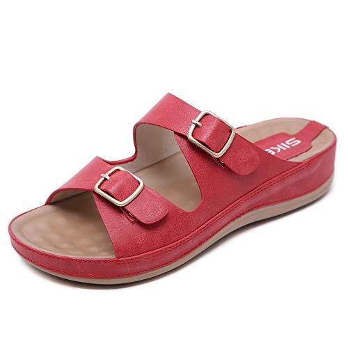 Sandalias de Pala Mujer Metálico Piel Verano Sandalias Bio Ajustable Buckle Comodas Plataforma Mules Planas Zuecos