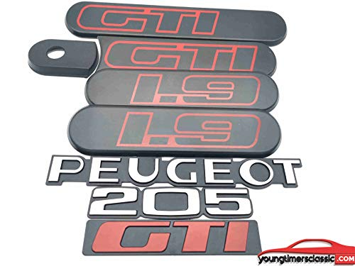 youngtimersclassic Insignias Laterales 205 GTI 1L9 Negro + 3 monogramas Peugeot+205+GTI
