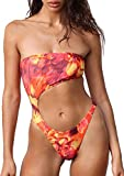 Women Off Shoulder Swimsuit Strapless Bikini Romper Padded Beachwear Monokini One Pieces Swimwear (Red, S)