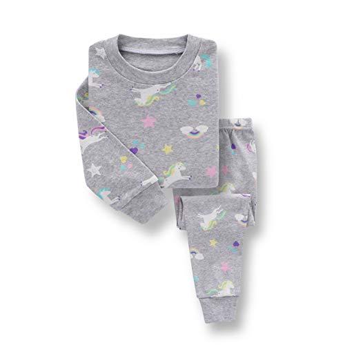 Qingzhuan - Conjunto de Pijamas para bebés, niños y niñas, Ropa de Dormir para niños, Dibujos Animados, Ropa de Dormir de Manga Larga, algodón, Suave y cómodo, Ropa para niños y niñas de 1 a 8
