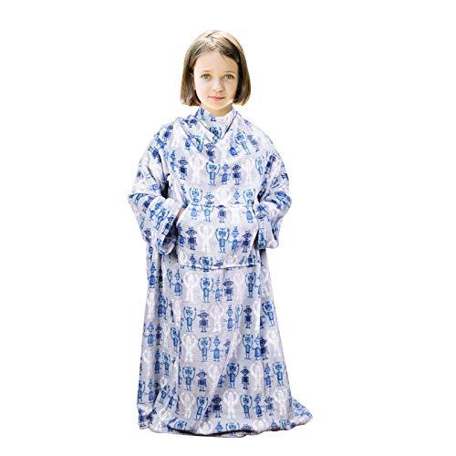 "Viviland Kids Wearable Blanket with Sleeves, Foot Pocket, Kangaroo Pocket, Children Boys Girls Throw Blanket, Soft, Warm, Lightweight Blanket for Kids, Flannel, Grey Robot, 55"" x 48"""