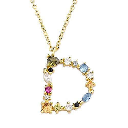 Collar Letra Inicial D Plata de Ley 925M bañada en Oro Amarillo de 18K Joyas para Mujer