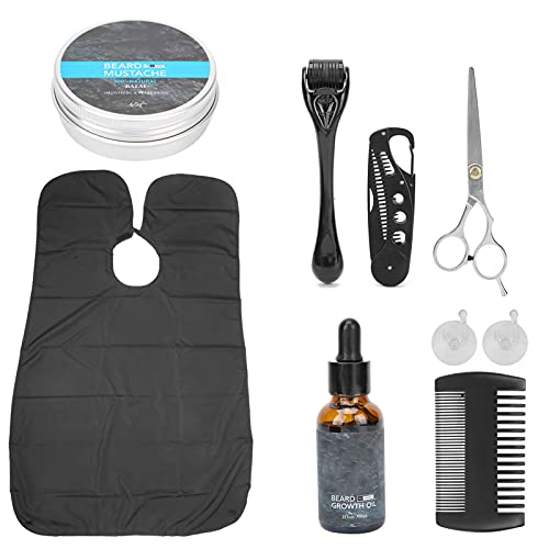Kit de toilettage de barbe, ciseaux à barbe, rouleau à ventouse, crème à barbe pour la maison pour les vacances pour le salon