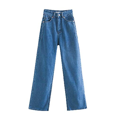 Damen High Waist Extra Lange Jeans Hosen Hosen Taschenreißverschluss Damen Wide Leg Denim Hosen