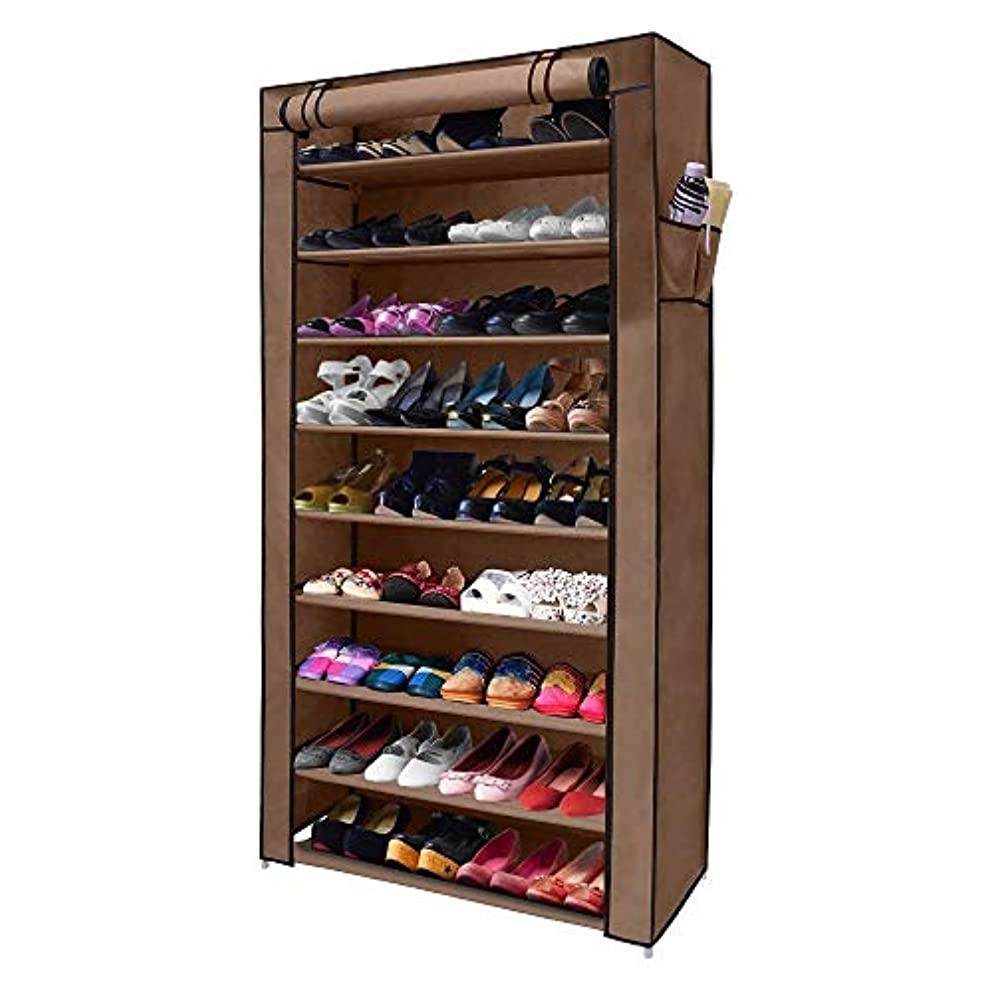 NEX 10-Tier Shoe Rack Portable 45 Pairs Shoe Organizer Tower Storage with Zippered Dustproof Cover (Dark Brown)