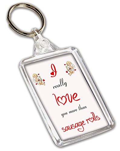 I Love saucisse Rouleaux sur le thème – Porte-clé – Saint-Valentin/anniversaire/cadeau d'anniversaire pour elle ou Lui