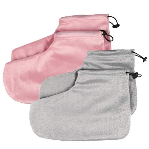 Exceart Paraffin-Wachs-Badeschuhe, Frottee, elastische Öffnung, für Wärmebehandlung, Wachsmaschine (Hellrosa, Grau), 2 Paar