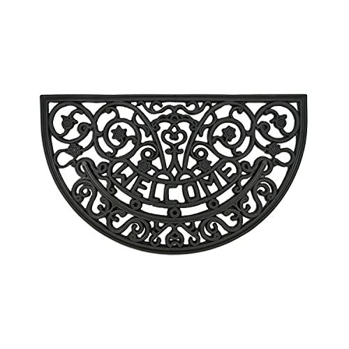 Felpudo Robusto para Exterior – felpudos Entrada casa – Felpudo Antideslizante con Cepillo de Goma – Alfombrilla para Puerta Delantera – Felpudo Negro - semicircular 45x75cm