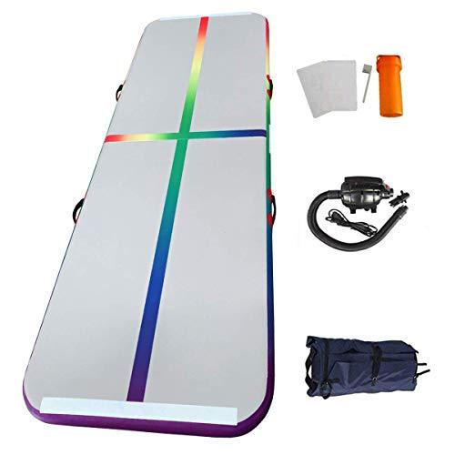 Tapis de Gymnastique Gonflable avec Tous Les Accessoires pour Gymnaste, Entraînement Sportif, Pom-Pom Girl, Yoga, Taekwondo (3x1x0.1M, Arc-en-Ciel -3m)