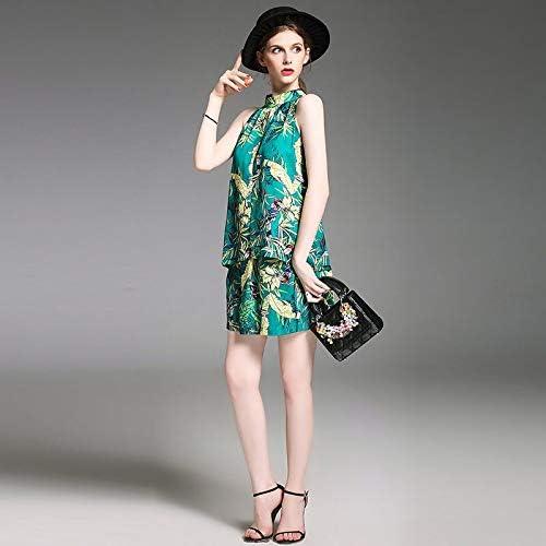 QUNLIANYI Robe Longue Gatsby Le Magnifique Ensembles Femmes Hors De L'épaule Tops Et Shorts Floral Imprimé Vert Costumes Sexy élastique Taille Haute Jambe Large Shorts