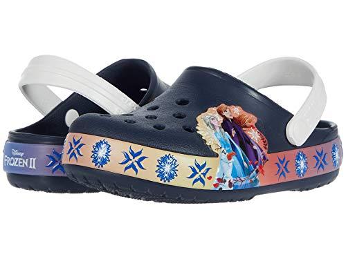 Crocs unisex child Kids' Disney Frozen 2 Light Up   Frozen Light Up Shoes for Girls Clog, Navy, 9...