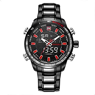 Naviforce NF9093 Fashion Man Dual Display Stainless Steel Sport Watch - RED