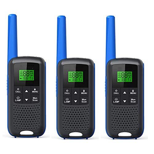 QCHEA Adulto FRS 2 Way Radio 3 Pack Walkie Talkies, 22 Canales Talkie de Largo Alcance con Auricular, Linterna para Ciclismo Senderismo Camping